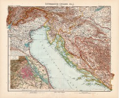 Osztrák - Magyar Monarchia (rész) térkép III. 1904, német atlasz, nagy méret, 39 x 47 cm, Bécs