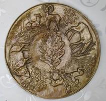 Rácz Edit jelzésű bronz tál eladó vadász tál