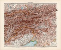Kelet - Alpok térkép 1904, német atlasz, nagy méret, 39 x 47 cm, eredeti, Justus Perthes, Stielers