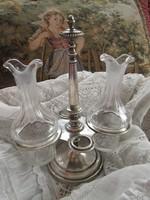 Antik ezüstözött üveg betétes fűszertartó