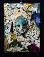 Velencei maszkos festmény, különleges plasztikus festmény, plasztika