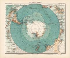 Déli-sark térkép 1905, Stielers, német atlasz, Antarktisz, Justus Perthes, nagy méret, 39 x 47 cm