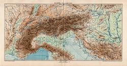 Az Alpok hegy- és vízrajzi térkép 1907, atlasz, Kogutowicz Manó, magyar nyelvű, hegység, Európa
