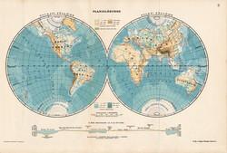 Planiglóbusok térkép 1907, atlasz, Kogutowicz Manó, magyar nyelvű, világtérkép, félgömb, félteke