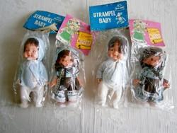 2 db régi hajas baba eredeti csomagolásban kék és mintás ruhában 20 és 17 cm