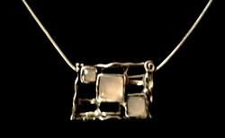 Didae izraeli ezüst nyakék halványrózsaszín kövekkel