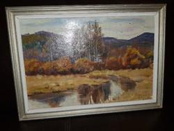 Szép orosz erdőszéli festmény, őszi táj, olaj, méret jelezve a hátoldalán, egyéb infókkal