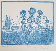 Gross Arnold -  Napraforgók. 20 x 23 cm linómetszet (NEM fakszimile grafika)