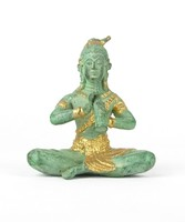 0Y506 Antikolt ülő bronz buddha szobor 9.5 cm