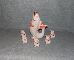 Lomonosov porcelán hal formájú italos készlet (K)