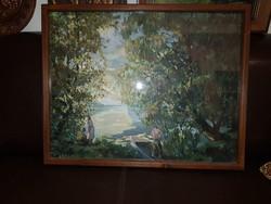 Csónakázás, olajfestmény, 60x46, vásznon