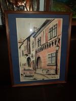 47x52 a keret mérete, príma akvarell, Tóth Péter alkotása, falra kész!