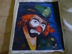 Élénk, vidám színű vászonra festett bohóc portré