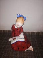 1,-Ft Ritka Bodrogkeresztúri mezítlábas olvasó kislány!