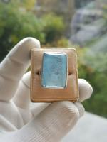 Hatalmas 15Cts Modern Akvamarin Ezüst Állítható Méretű Gyűrű Szép Tiszta Kő