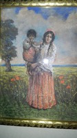 Glatz Oszkár - Cigány asszony,gyermekével (?)- 1914- 1 forintról!