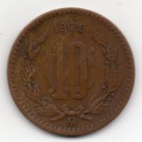 Mexikó 10 centavos, 1920, nagyon ritka