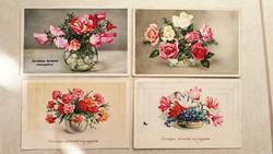 Régi képeslap 4 db virágos rózsás üdvözlőlap 1940 körül