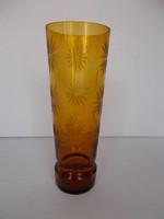 Antik hibátlan csiszolt üveg váza, 26,5 cm