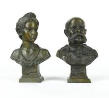 0Y530 Sziszi és Ferencz József bronz büszt pár