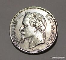 Antik francia, III. Napoleont ábrázoló ezüst mandzsetta gomb pár