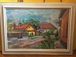 Csepeli Pálma olajfestmény - a mi kis falunk
