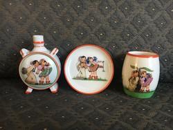 3 db Zsolnay porcelán - a boldogság 3 állomása