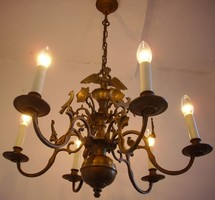 Antik tömör sasos bronz csillár