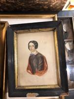 Régi, XIX. századi női portré, szép állapotban, ajándéknak, 16 x 25 cm-es