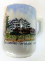 Nagyon ritka Balatonfüred - fürdő Erzsébet udvar Zsolnay antik csésze 64.