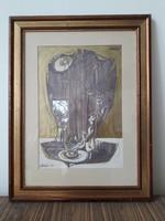 Xantus Gyula - Népmese - retro festmény Képcsarnokos kiállítási címkével