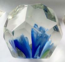 Lapra  csiszolt üveg  kék  virágos levélnehezék