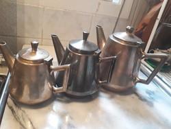 Art deco, ezüstözött alpacca kannák, kiöntők Astoria Kávéházból, Magyar vendéglátás, kávéházi kellék