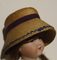 Régi kis viseleti kalap, szalmakalap-akár antik baba öltöztetéséhez is használható