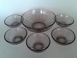 Retro kompótos készlet régi lila üveg tál 6 db