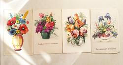 Régi képeslap 4 db virágos üdvözlőlap 1940 körül