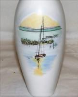 Régi Aquincum porcelán Balatoni Badacsonyi emlék váza