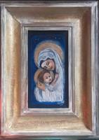 Mária kis Jézussal 35x26cm-es lakkfestés technikás kép, Károlyfi Zsófia Prima díjas alkotótól.