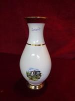 Német porcelán emlékváza, Bad Schallerbach látképpel. Magassága 19 cm.