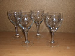 Retro csiszolt talpas pohár készlet 4 db-os (4/K)