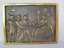 Jézus Pilátus előtt bronz fali dísz kép