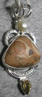 925 ezüst medál Crinoid fossília, citrin, gyöngy