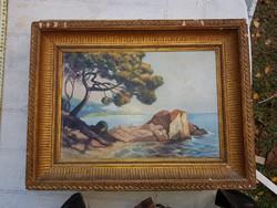 Ismeretlen szignós mediterrán tengerpart, olaj festőfán, szép mély keretben