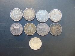 9 darab ezüst 1 korona LOT !
