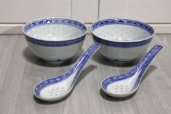 Két darab sárkány mintás kínai porcelán rizstál, levesestál kanállal együtt