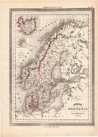 Svédország, Norvégia és Dánia térkép 1861, olasz, eredeti, atlasz, Skandinávia, Izland, észak, régi