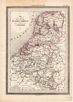 Hollandia és Belgium térkép 1861, olasz, eredeti, atlasz, Európa, XIX. század, észak, Amszterdam
