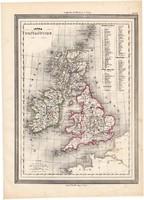 Nagy - Britannia térkép 1861, olasz, eredeti, atlasz, Európa, Anglia, Írország, Skócia, Wales, megye