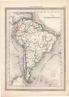 Dél - Amerika térkép 1861, olasz, eredeti, atlasz, XIX. század, Brazília, Argentína, Peru, Falkland