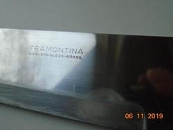 TRAMONTINA INOX STAINLESS BRASIL jelzéssel acél kés réz szegecses fa nyéllel